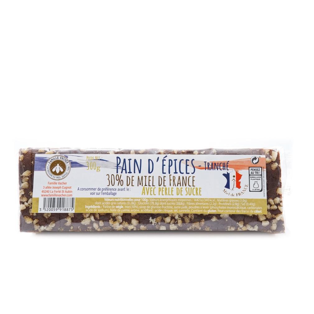 Pain d'épices tranché 30% miel de France avec perles de sucre 300g