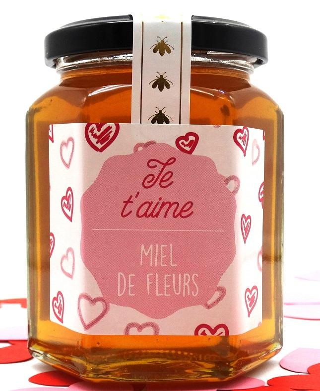 """Miel de fleurs liquide """"Je t'aime"""" 350g"""