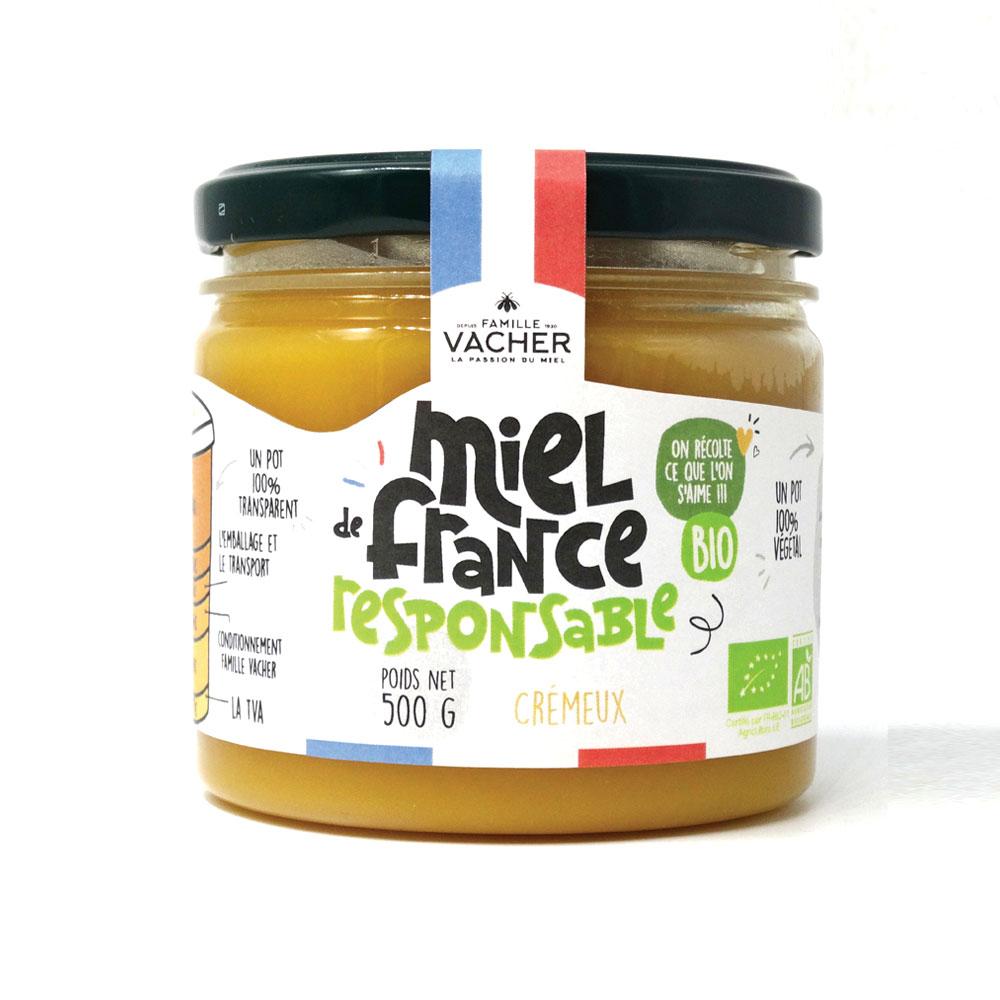 Miel de France crémeux bio responsable 500g - Pot végétal