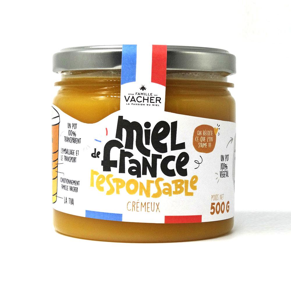 Miel de France crémeux responsable 500g - Pot végétal