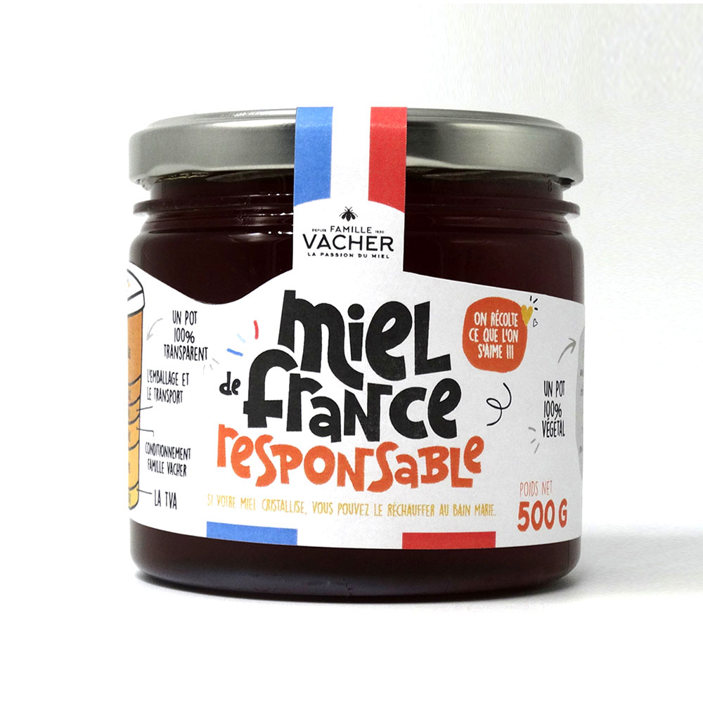 Miel de France liquide responsable 500g - Pot végétal